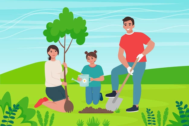 Family plants a tree. nature conservation, landscaping concept illustration in cartoon flat style