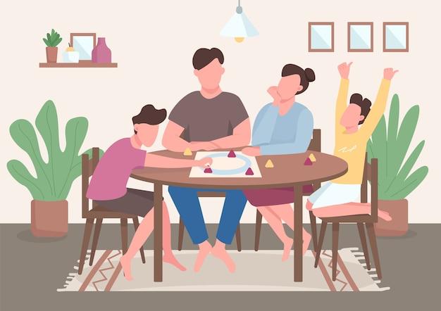 Семейная настольная игра плоский цвет. дети и родители проводят время вместе. мама и папа играют в настольную игру. родственники 2d героев мультфильмов с интерьером на заднем плане