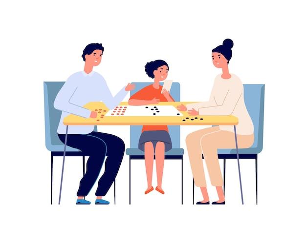 가족 놀이 보드 게임. 놀고 있는 사람들, 책상에서 노는 여자 어린 소녀 남자. 행복한 부모, 홈 테이블 탑 포커 플레이어 벡터 삽화. 딸과 함께하는 부모