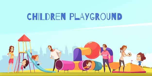 Family playground kids composition