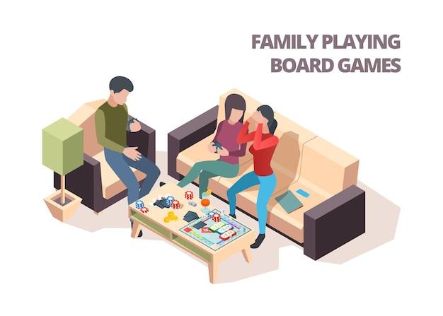 Семья играет в настольную игру. карты монополия шахматы дома досуг играя вектор изометрические счастливые люди. семейная игра вместе, иллюстрация настольной игры