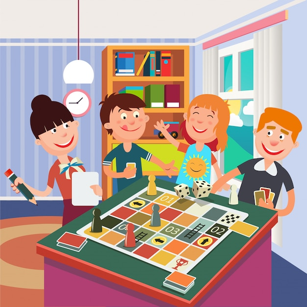 Family playing board game. happy family weekend.