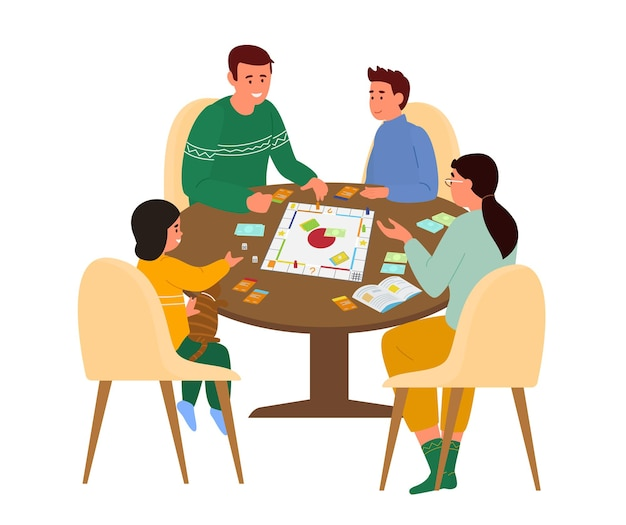 Family playing board game at table at home.