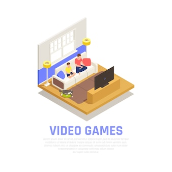 Family playing composition with video games symbols isometric
