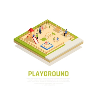 Family playing isometric concept with playground with kids symbols