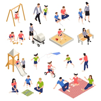 Family playing isometric icons set with parents and children isolated