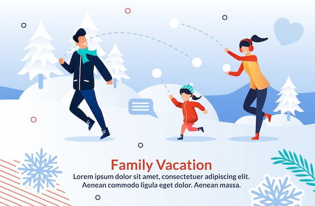 Family playing snowball and having fun poster