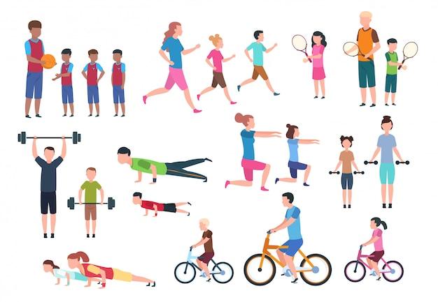 スポーツをする家族。人々のフィットネス運動とジョギング。スポーツアクティブなライフスタイルの漫画のキャラクター