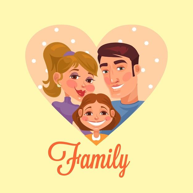 家族の肖像画フラット漫画イラスト