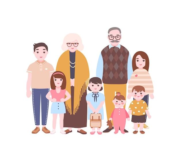 가족 초상화입니다. 함께 서 있는 조부모와 손자. 할머니, 할아버지, 손자 및 손녀 흰색 배경에 고립. 평면 스타일의 만화 벡터 일러스트 레이 션.