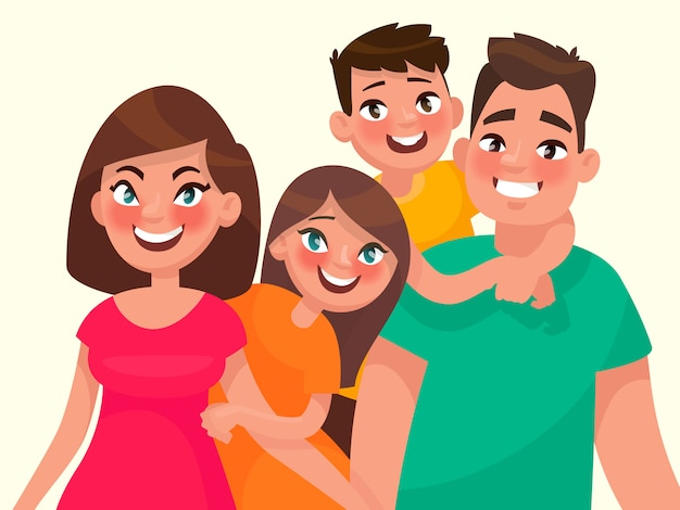 Family portrait. mom dad daughter and son. vector illustration in cartoon style