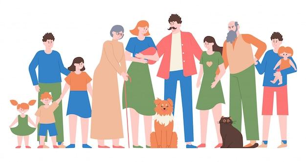 家族写真。ママ、パパ、10代の娘と息子、子供たちと幸せな家族、さまざまな世代のキャラクターイラスト。お父さんとお母さん、息子と娘、愛する家族