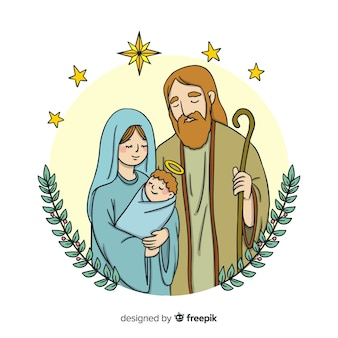 Family portrait nativity background
