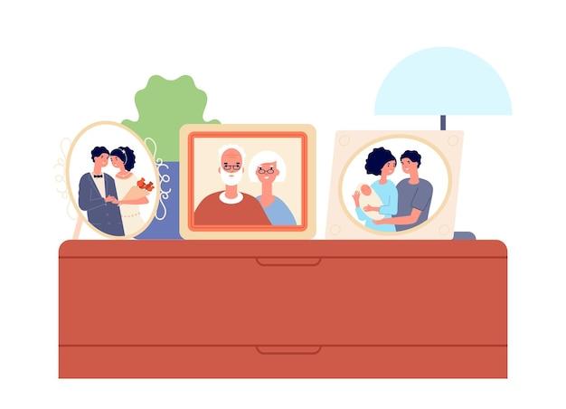 Семейные портреты в рамах. пара, фото детей на столе, картинная галерея милых родственников. домашний декор, векторные иллюстрации истории родителей. портретная семейная рамка, фото отца и матери