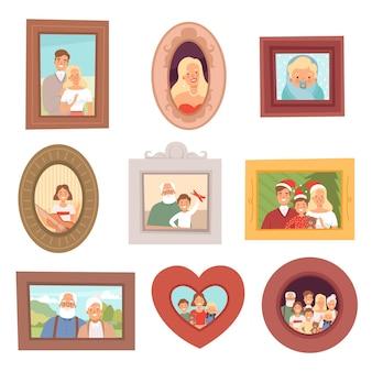 가족 초상화. 아이들과 부모 어머니 아버지와 조부모의 사진은 행복 미소 컬렉션 집합에 직면 해있다.