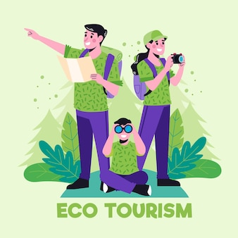 Family practicing eco tourism