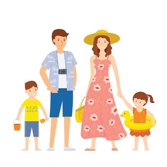 가족은 해변 활동을위한 장비로 여름 여행을 준비합니다.