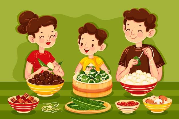가족 준비 및 zongzi 먹는