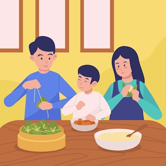Family preparing and eating rice zongzi