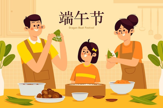 Family preparing and eating zongzi in flat design