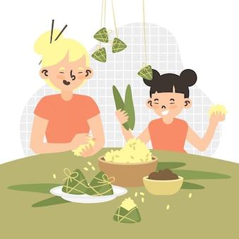 Famiglia che prepara e mangia il tema di zongzi