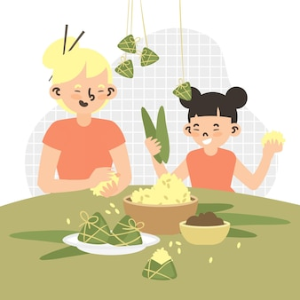Family preparing and eating zongzi theme