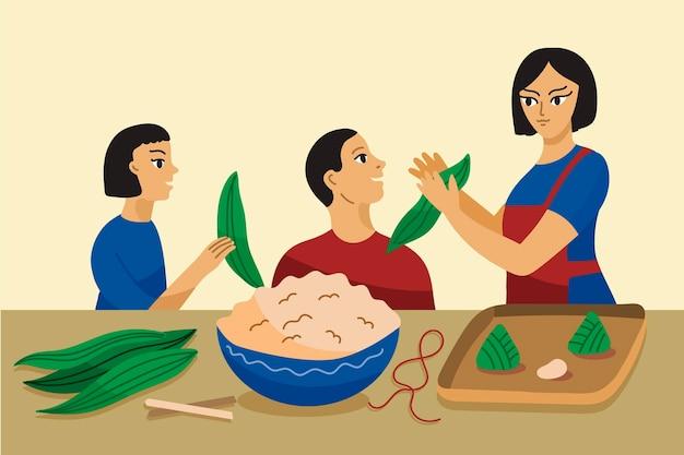 Family preparing and eating zongzi