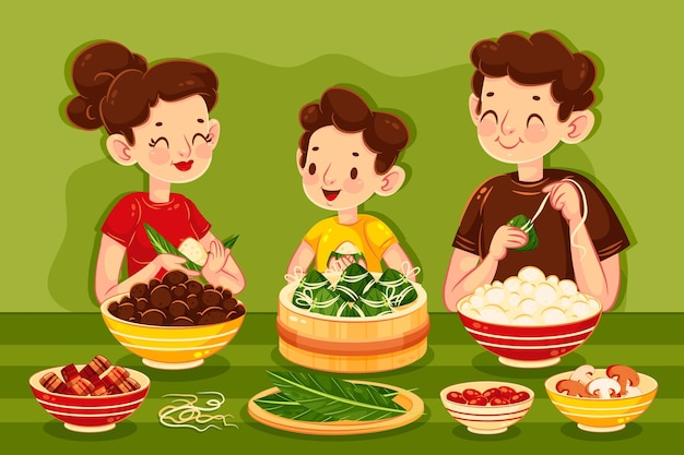 Family preparing and eating zongzi