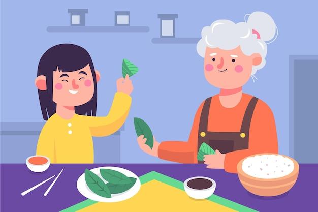 Famiglia che prepara il disegno disegnato a mano di zongzi