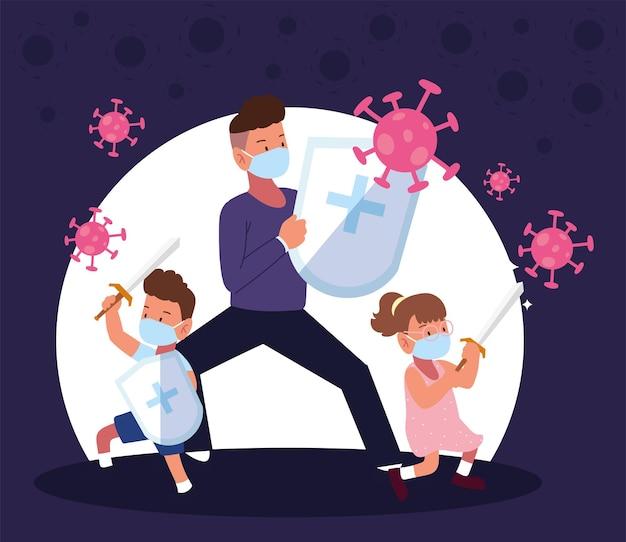 家族予防コビッドファイトコロナウイルス