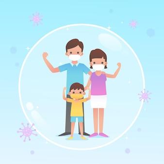 바이러스로부터 보호되는 가족