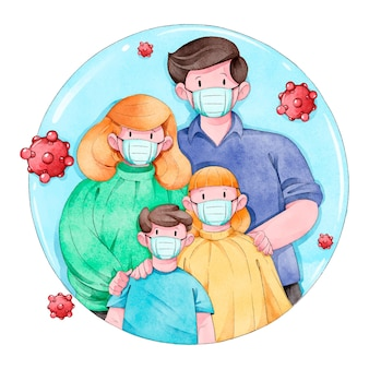 Family protected from the virus illustrated
