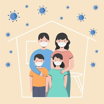 Family protected from the virus illustration