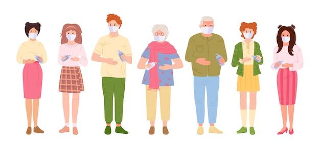 바이러스로부터 보호되는 가족. 사람들은 알코올 젤로 의료 마스크 소독제 손을 사용합니다. 공중에서 코로나 바이러스의 전염병을 멈추고, 만화 스타일의 개념