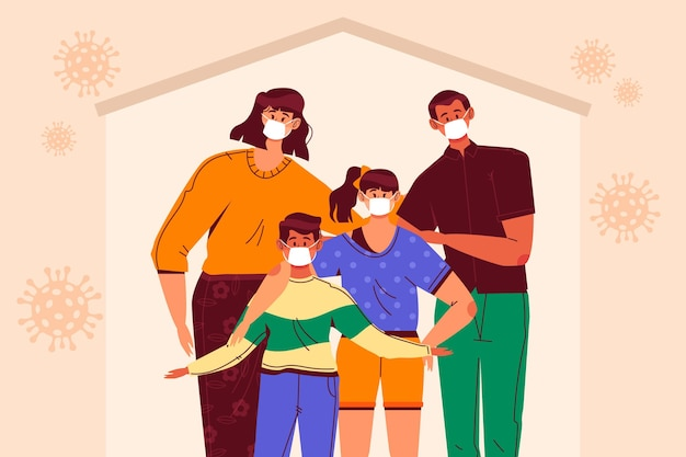 Family protected from the virus theme