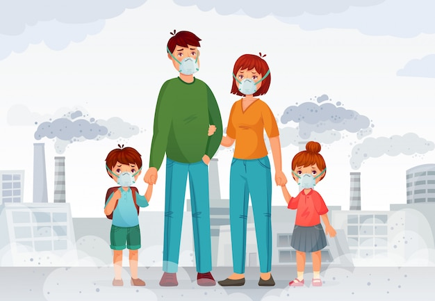 Family protection from contaminated air. people in protective n95 face masks, industry smoke and safe mask illustration