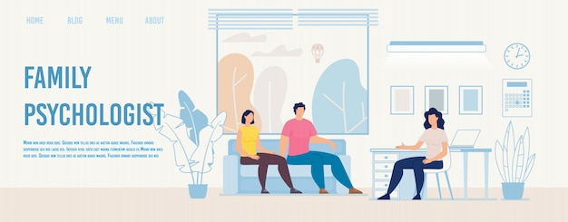 Семейный психолог, консультирующий плоский вектор веб-страница