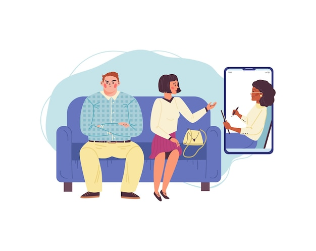 Family psychologist having online session with quarreling married couple