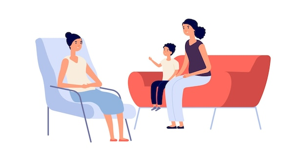 Family psychologist. mother son psychotherapy session. flat children psychotherapist consulting woman boy. behavior or mental problems treatment