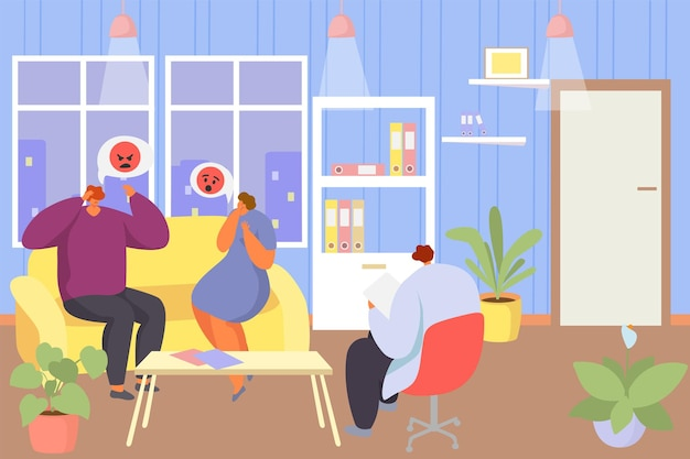 Family psychotherapy session, vector illustration. man woman couple character at therapy, psychologist talk with patient sitting at couch. psychology problem counseling, treatment in office.