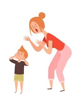 가족 싸움. 가정 폭력, 여자는 소년에게 비명을 지른다.