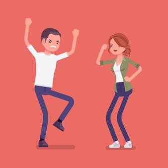 Семейная ссора, горячие жена и муж в споре или разногласиях