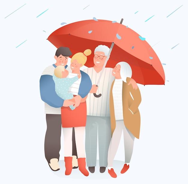 Family under rain holding big umbrella