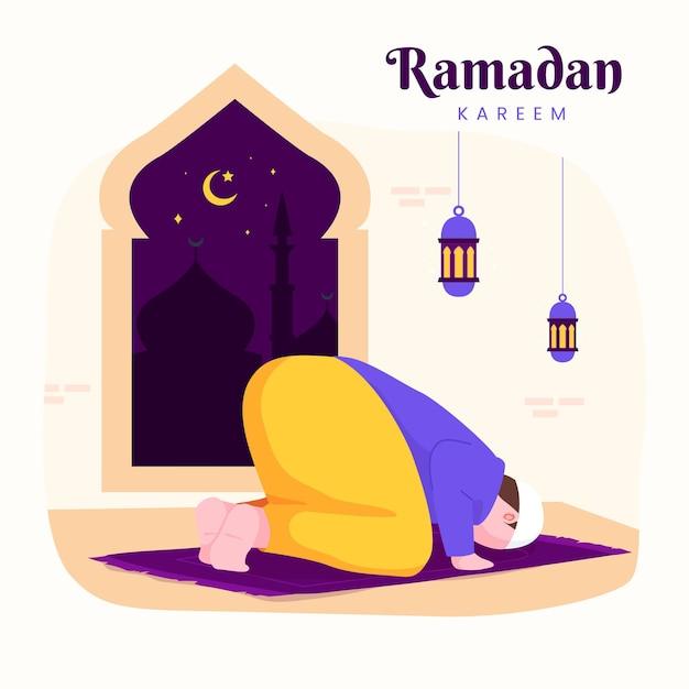 夜のランタンと三日月の断食中に祈るイスラム教徒の男性と家族のラマダンカリームムバラク、