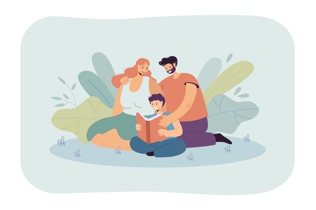 Семья, читающая книгу вместе плоская иллюстрация