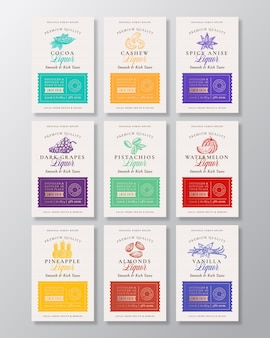 Family recipe fruit, berries, nuts and spices liquor acohol labels collection.
