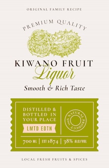 Family recipe kiwano liquor acohol label abstract vector packaging design layout modern typography b...