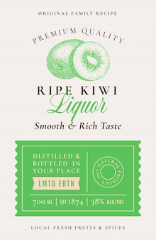 Family recipe kiwi liquor acohol label abstract packaging design layout