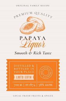 Family recipe papaya liquor acohol label abstract packaging design layout