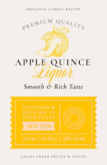 Family recipe quince liquor acohol label abstract vector packaging design layout modern typography b...